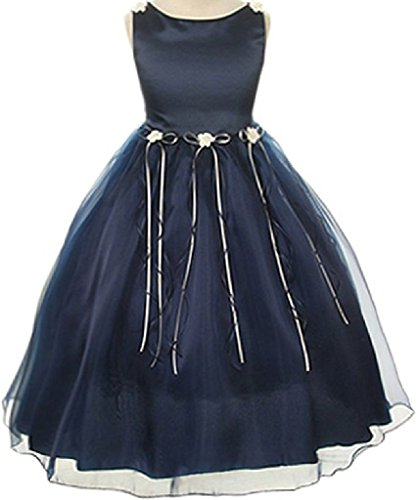 Rosebud Flower Bow Ribbons Little Girl Flower Girls Dresses (14KD9) Navy 6