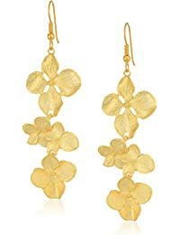 Kenneth Jay Lane Carved Resin Flower Drop Clip Earring Gold/white