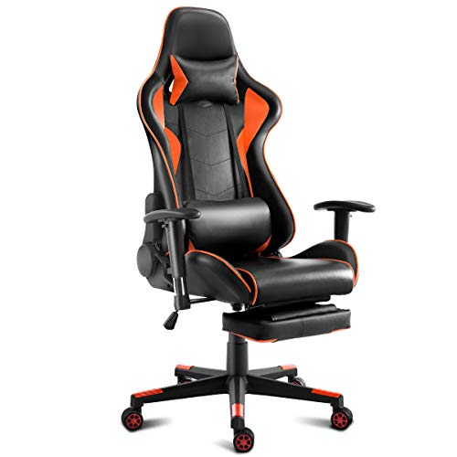 GHP 330-Lbs Capacity Orange & Black PU Adjustable Height Gaming Chair with Headrest Global House Products
