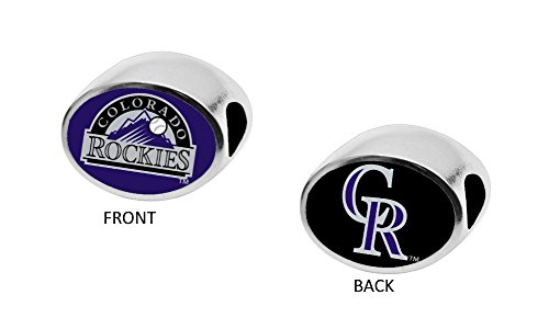 Colorado Rockies 2-Sided Bead Fits Most Bracelet Lines Including Pandora, Chamilia, Troll, Biagi, Zable, Kera, Personality, Reflections, Silverado and More Charm Bead Fits Pandora Style Bracelets
