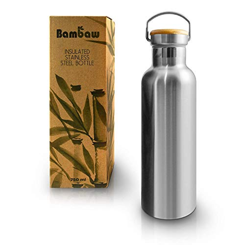Bambaw Insulated Water Bottle | Stainless Steel Water Bottle 25oz | Eco Friendly Reusable Bottle | Leakproof and Plastic Free Metal Water Bottle| Keeps Hot and Cold Drinks | Eco Water Bottle