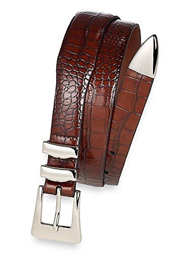 Paul Fredrick Men's Crocodile Embossed Belt with Metal Keeper and Tip Cognac Solid 38 (Crocodile Embossed Belt)