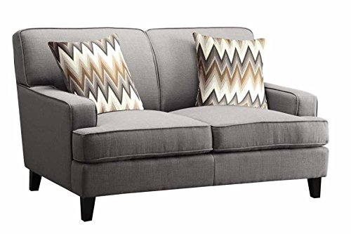 1PerfectChoice Finley Cement Color Linen Like Loveseat
