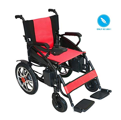 2018 New Electric Wheelchair - Foldable Lightweight Heavy Duty Lithium Battery Electric Power Wheelchair (Red)