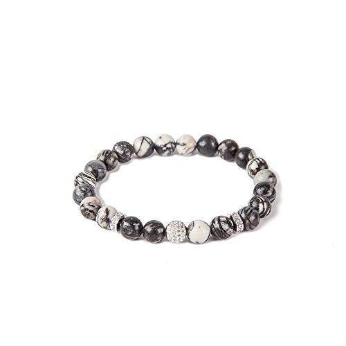 Bracelet Jewelry 18k Fine All (mao mao jewelry 8mm Rock Bead Lava Rock Stone Bead DIY Diffuser Charm 8 inch Bracelet Set Adjustable bangle (Map network stone +white diamond ball))