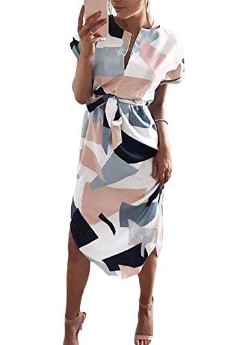 YOINS Women V Neck Dress Floral Print Short Sleeve Midi Dress Summer Casual Split Dress