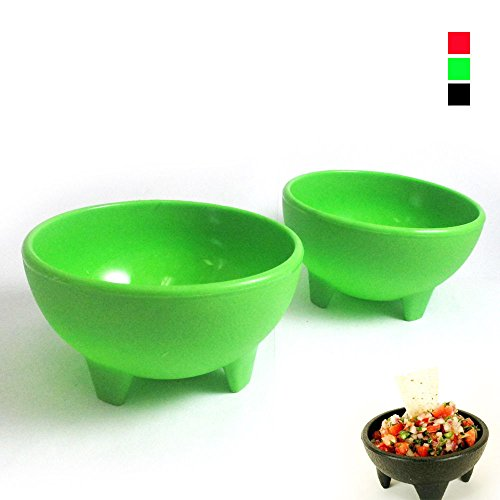 BooTool(TM) 2 Pack Salsa Bowls Plastic Mexican Molcajete Chips Guacamole Bowls Serving Dish