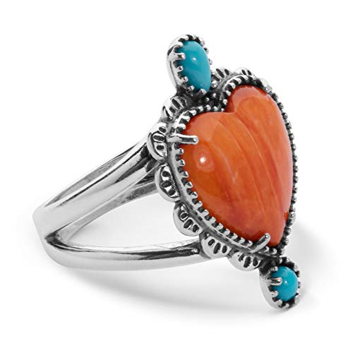 Sterling Silver & Orange Spiny Oyster Heart Cabochon Ring with Turquoise Gemstone Accents, Size 8