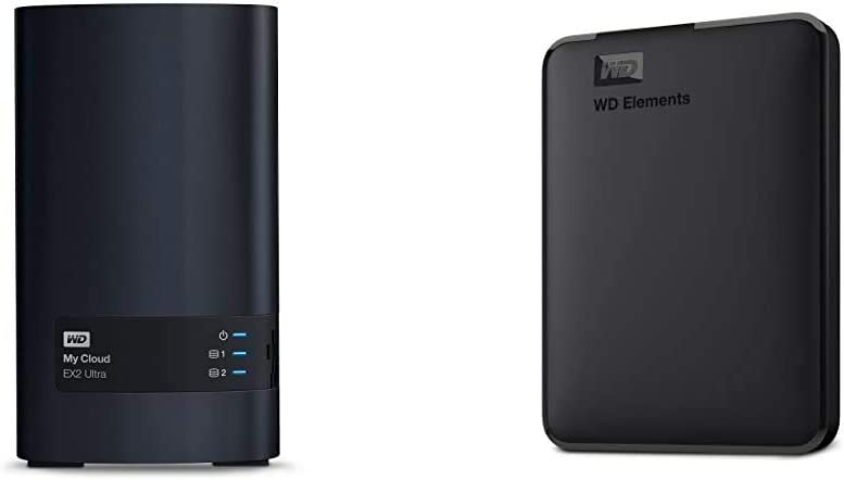 WD 8TB My Cloud EX2 Ultra Network Attached Storage - NAS - WDBVBZ0080JCH-NESN & 2TB Elements Portable External Hard Drive, USB 3.0, Compatible with PC, Mac, PS4 & Xbox - WDBU6Y0020BBK-WESN