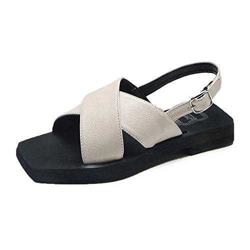 Carriera Scarpe Beige sandali ZHZNVX beige Office donna nero piatto toe pu l'estate Outdoor tacco molla Ballerina Peep per OwTqCwd
