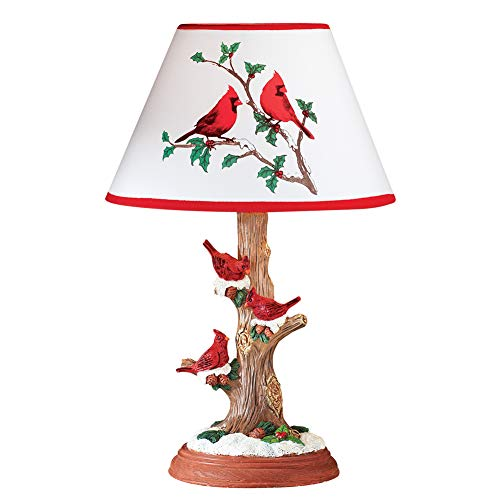 - Cardinal Table Lamp Christmas Decoration with Tree Trunk Base and Snow Accents - Holiday Décor for Any Room in Home