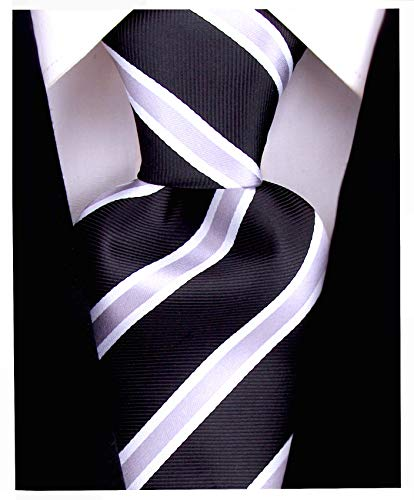 Striped Ties for Men - Woven Necktie - Black w/Gray
