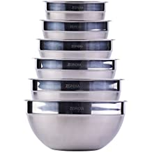 ZESPROKA Stainless Steel Mixing Bowls, Nesting Bowls, Matte and Mirror Finish, Set of 6