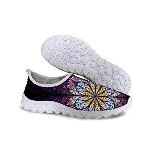 For U Design Sommer Mote Vintage Floral Stil Kvinners Uformelle Pustende Waliking Joggesko Lilla