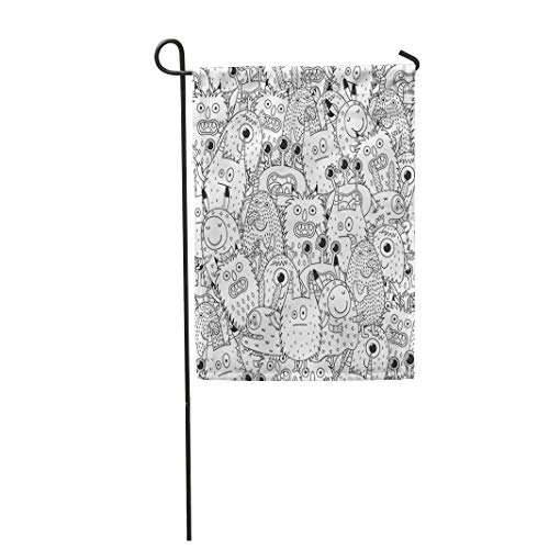 Semtomn Garden Flag 28x40 Inches Print On Two Side Polyester Halloween Funny Monsters for Coloring Book Black and White Page Scary Adult Alie Home Yard Farm Fade Resistant Outdoor House Decor Flag ()