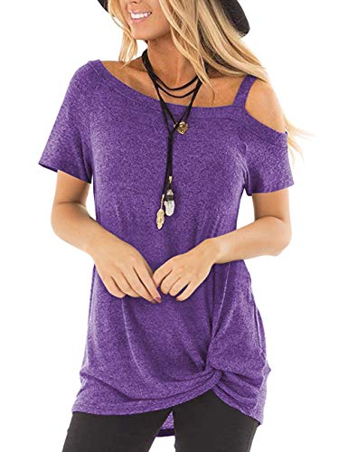 (Women's Cold Shoulder Tunic Tops Short Sleeve Casual Blouses Front Knot Twist T-Shirt Purple)
