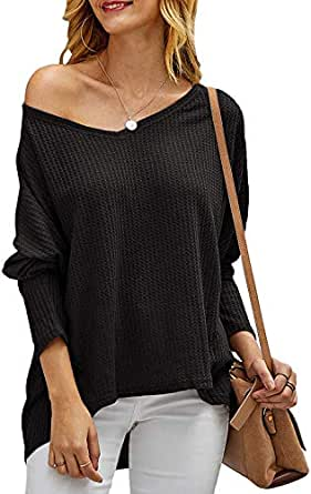 Chuanqi Womens Oversized Sweaters Casual Loose V Neck Batwing Sleeve Waffle Knit Pullover Baggy Blouse Tops - Black - Small