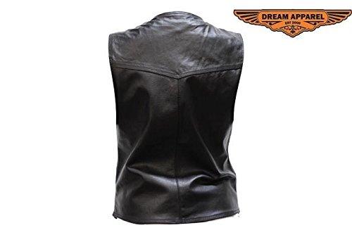 Dream Ladies Motorcycle V Neck Zipper Front Soft Leather Vest W/2 Inner & Outer Pocket(L)