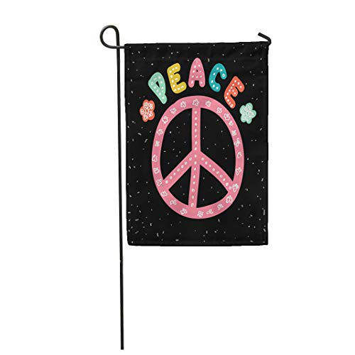 Semtomn Garden Flag Peace Sign Hand Lettering Flowers and Anti War Symbol 12