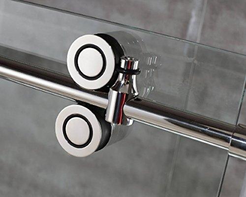 DIYHD FSCHROME 5FT Frameless Sliding Track Chrome Surface barn Shower Door Hardware-no Glass, Stainless Steel (Hardware Steel Shower)