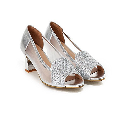 Amoonyfashion Mujeres-pull-on Open-toe High-heels Sandalias Sólidas Pu Plata