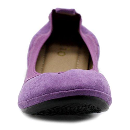 Ollio Women's Flat Purple Suede Ballet Comfort Shoes Faux pp4rw