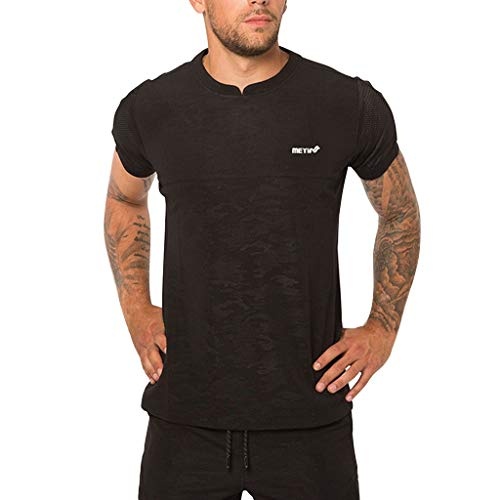 Benficial Men's Summer Fashion Sports Fitnes Breathable Short Sleeves Blouse Top Black