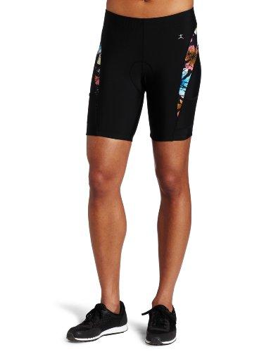 Danskin Women's Print Color Blocked 5 Inch Triathlon Short, Multi, X-Small