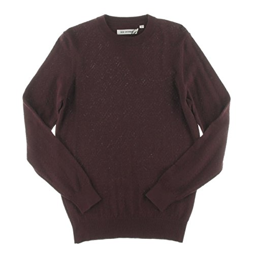 Ben Sherman Mens Ribbed Trim Chevron Pattern Pullover Sweater Red (Ben Sherman Cotton Sweater)