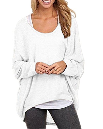 ZANZEA Women's Long Batwing Sleeve Loose Oversize Pullover Sweater Top Blouse White US 12/Tag Size