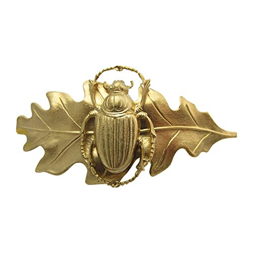 Scarab Hair Barrette Egyptian Scarab Leaf Artisan Crafted Hair Clips Hair Jewelry