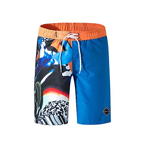 MODOQO Swim Trunks for Men, Casual Loose Fit Striped Shorts Bathing Suit Quick Dry Workout Beachwear(Blue,XL)