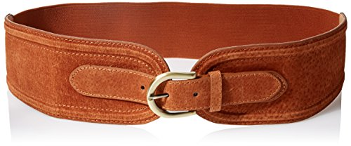 elise m. Women's Vicky Structured Genuine Suede Waist Belt with Elastic Stretch Back, Cognac, Medium/Large by elise m.