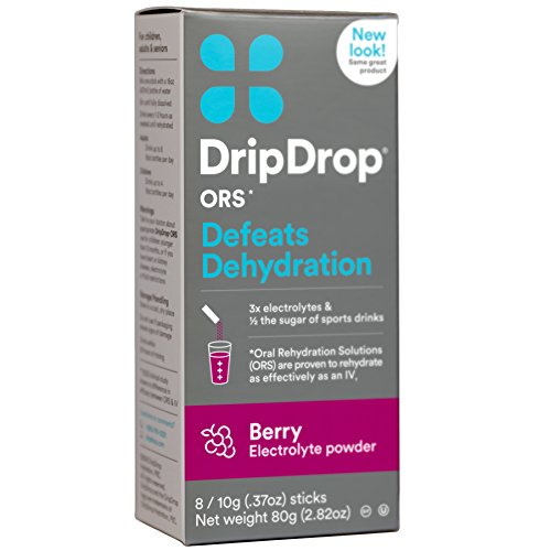 DripDrop ORS Electrolyte Hydration Powder Sticks, Berry, Individual 10g Sticks, 8 Count