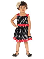 Lil Orchids Big Girls' Polka Dots Printed Casual Dress 7-8 Years Black