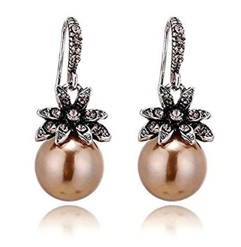 (LOSOUL Vintage Sun Flower Pearl Drop Earrings for Women Fine Jewelry Accessory,Champagne)