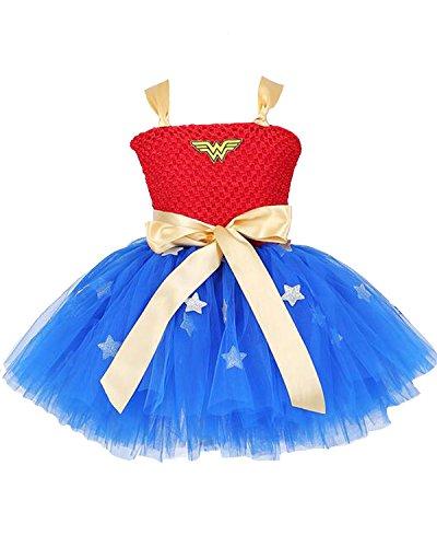 Aifang Halloween Girls Wonder Woman Costume Superhero T-Shirt Dress Tutu Skirt Costume for Child Kids Toddler S