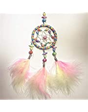 Mini Multicolor Dream Catcher For Car Rear View Mirror Accessories Beaded Feathers And Handmade Weave Web Boho Chic Hanging Decoration