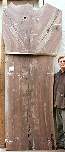 DIY Rustic Live Edge Dining Table Kitchen Tabletop Natural Claro Walnut Raw Wood Slab Figured Custom Wooden Furniture 6496s2