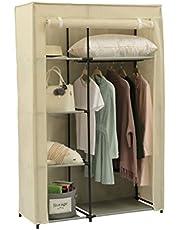 Home-Like Armoire penderie de Tissu, NO Tissu, Meuble de Stockage avec Barre pour Suspendre. 106x45x166cm Gris