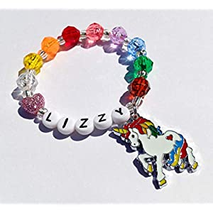 51046053b03e Girls bracelet unicorn bracelet rainbow bracelet charm bracelet for girls  personalized ...
