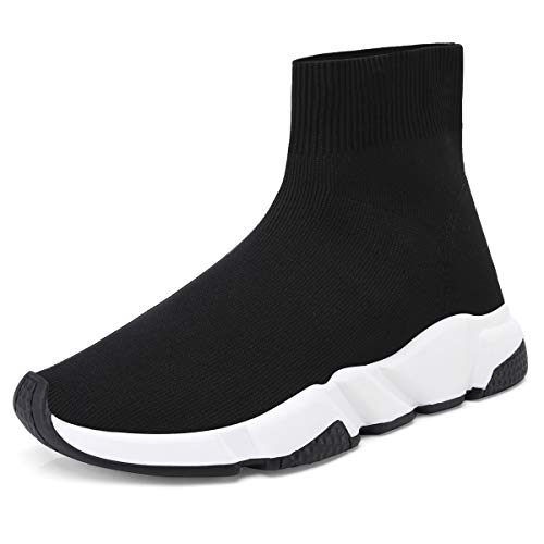 Onlymaker Women's Fashion Stretchy Flyknit Sneakers Pull On Ankle Sock Booties Breathable Casual Walking Shoes Black 7 M US