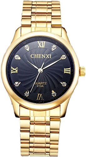 IP Gold Plating Steel Roman Numeral Dial with Rhinestones Mens Wrist Watches Black