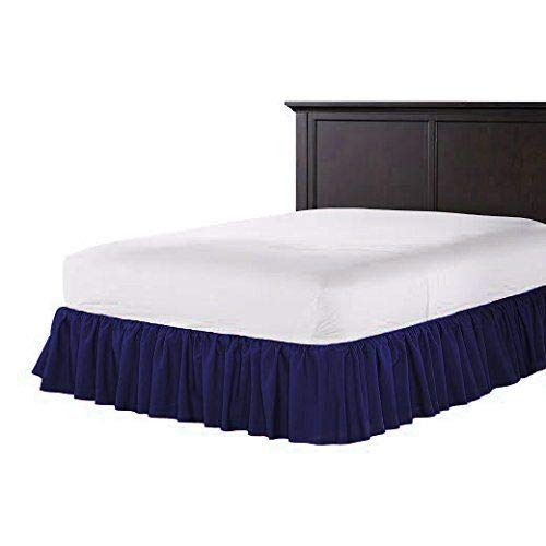 (US Comfort Zone Dust Ruffle Bed Skirt Twin XL Size 18'' Drop Fall Length Luxurious Hotel Collection 600 Thread Count 100% Egyptian Cotton Hypoallergenic Decorative Navy Blue Solid)