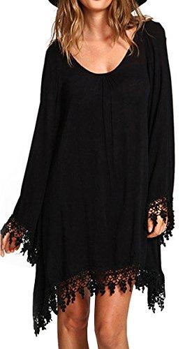 BLACKMYTH Mujer Talla Grande Borla Manga Larga Irregular Hem Casual Vestido negro