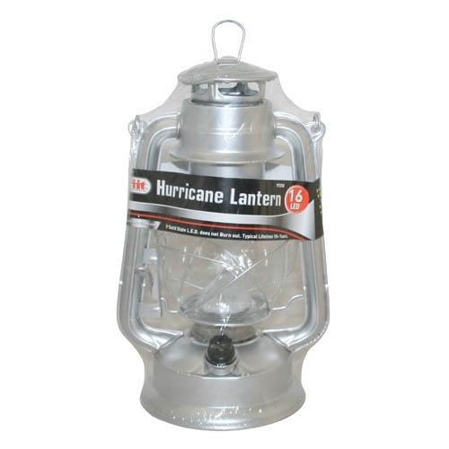 IIT 16 LED Hurricane Lantern, Silver, Outdoor Stuffs