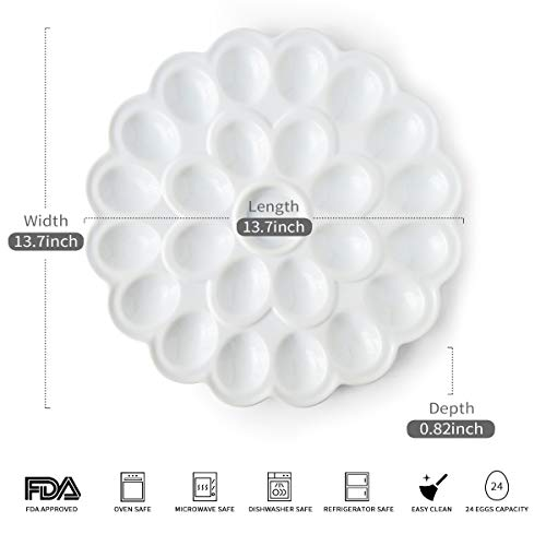 13.5-inch Porcelain Deviled Egg Tray/Dish White Ceramic Egg Platter with 25-Compartment by LAUCHUH (Image #1)