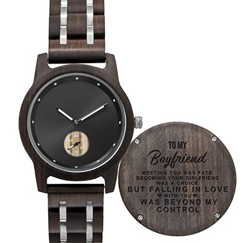Personalized Men's Wood Watch, Customize Engraved Wooden Quartz Watch for Boyfriend with Gift Box for Your Lovely Boyfriend/Husband/Valentine's Day (Style02-To Boyfriend)