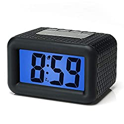 Easy Setting, Plumeet Digital Alarm Clock with Snooze and Nightlight Function, Large LCD Display Travel Alarm Clock Easy to Use, Ascending Sound Alarm & Handheld Sized, Batteries Powered (Black)