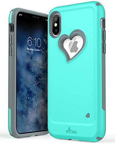 iPhone X Case, Vena [vLove] Heart Shape | Dual Layer Protection, Hybrid Bumper Cover Case for Apple iPhone X, iPhone 10 – Teal/Gray